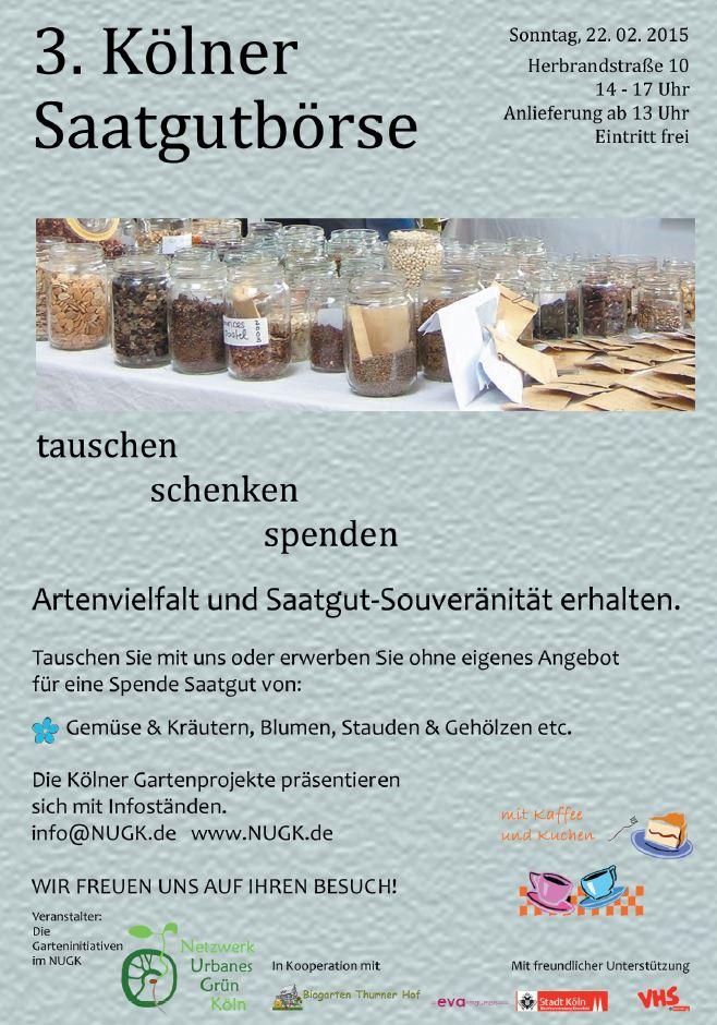 Saatgutbörse 22.2.2015, 14-17 Uhr, Herbrandstr. 10 in Ehrenfeld